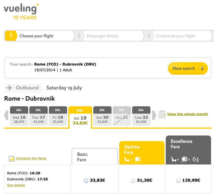 Vueling: Rome-->Dubrovni