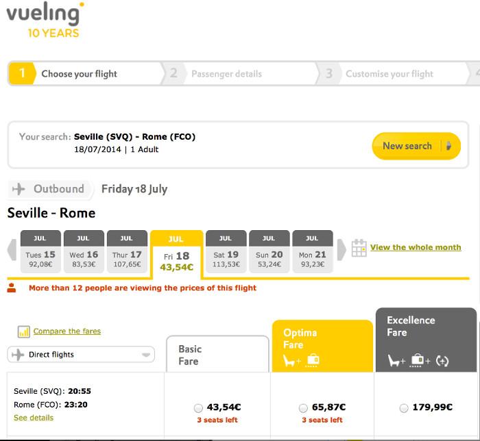 Vueling: Seville-->Rome