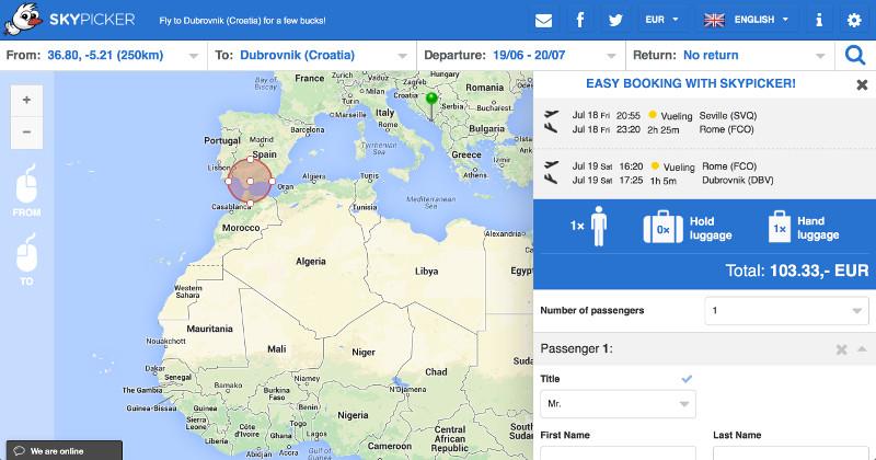 Skypicker Search Result: Seville-->Dubrovnik
