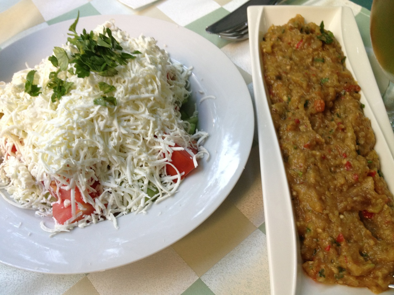 Shopska Salad and Eggplant (Патладжан) Starter