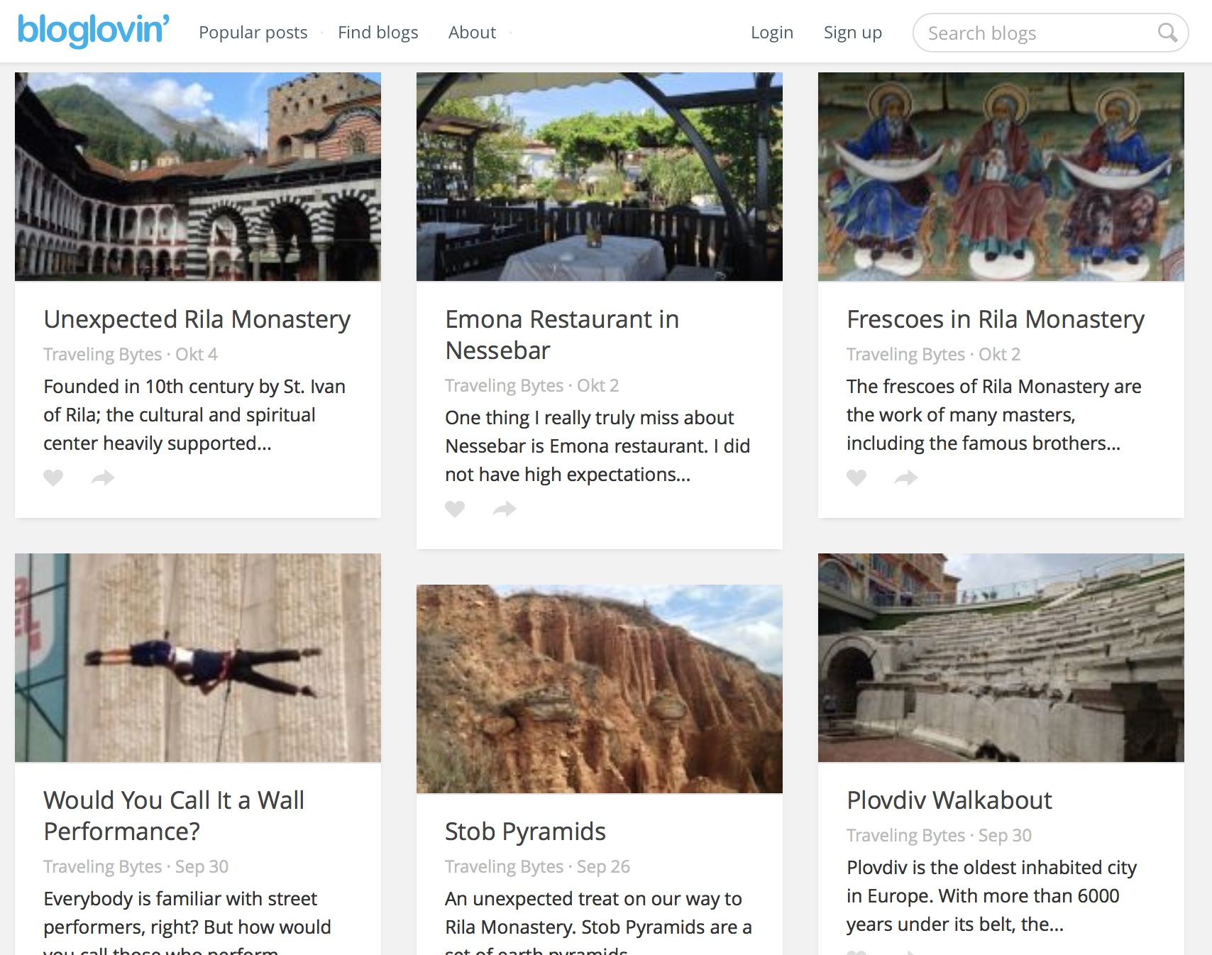 Bloglovin feed with images