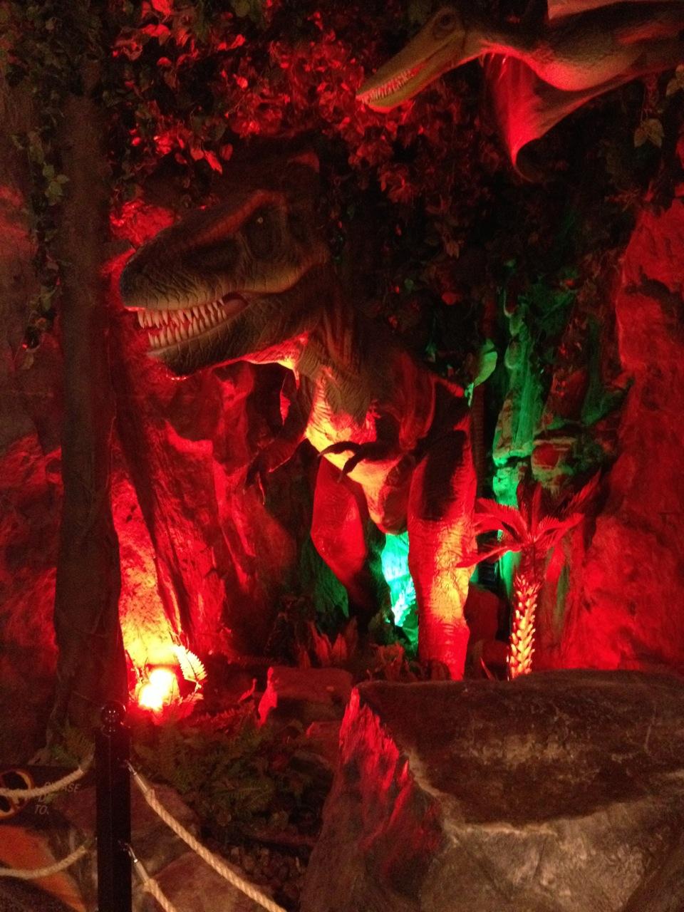 Roaring red dinosaur