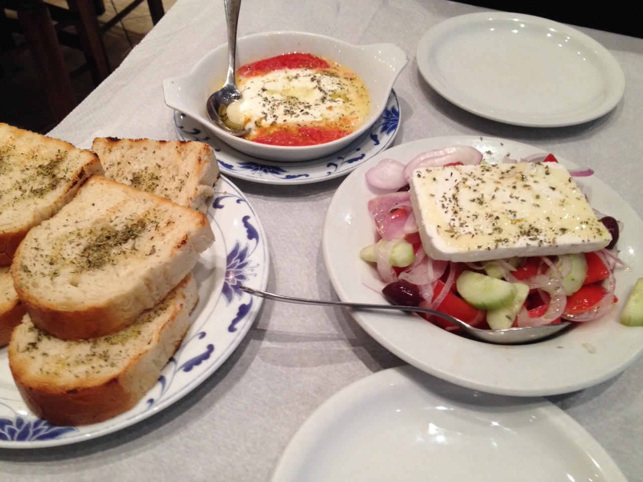 We started with Greek salad and baked cheese