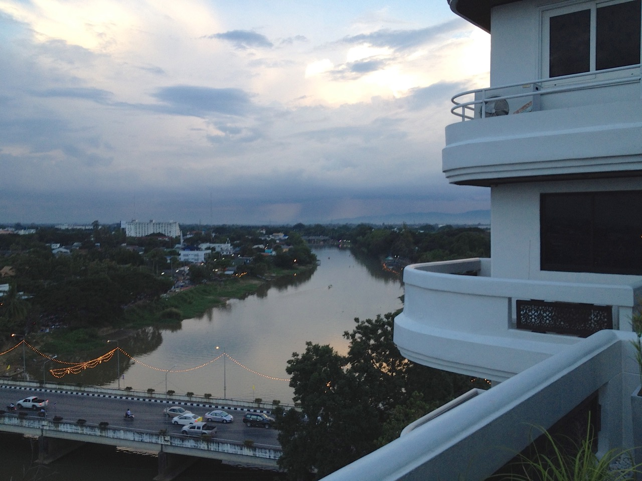 View of Ping river at sunset from our first apartment in Chiang Mai