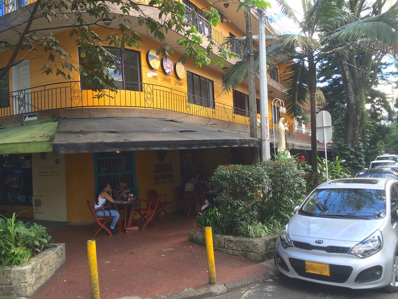 This sunny yellow building houses Juana La Cubana restaurant