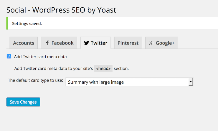 Yoast SEO: configuring Twitter Cards