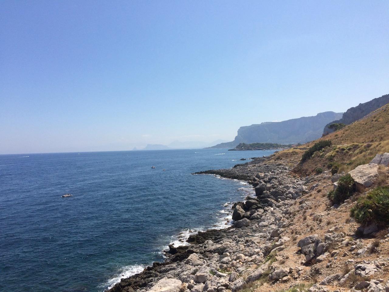 The Sicilian coastline at the Capo Gallo Reserve