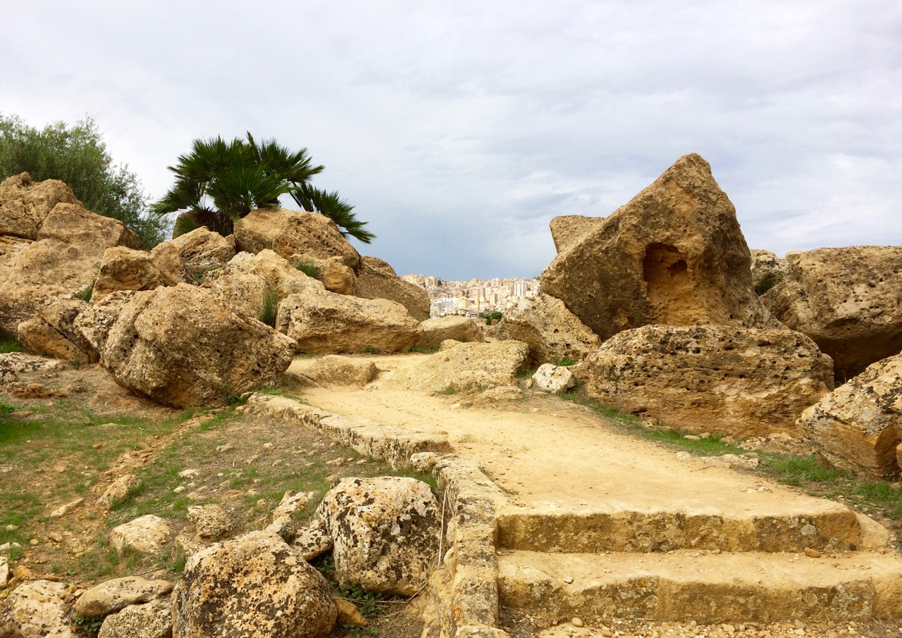 The old and the new: view of Agrigento from ancient ruins of Agrakas