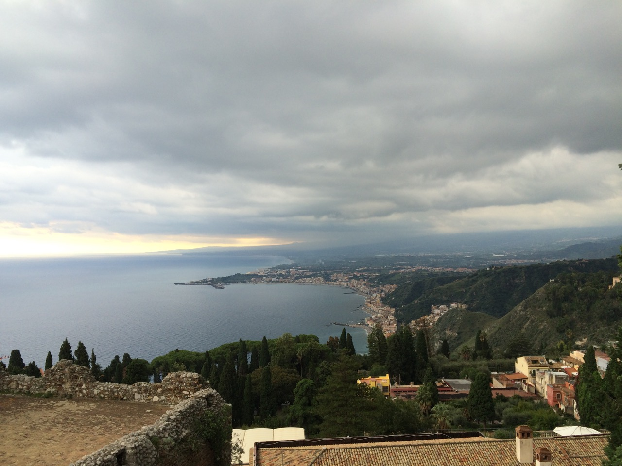 Cloudy October afternoon in Taormina