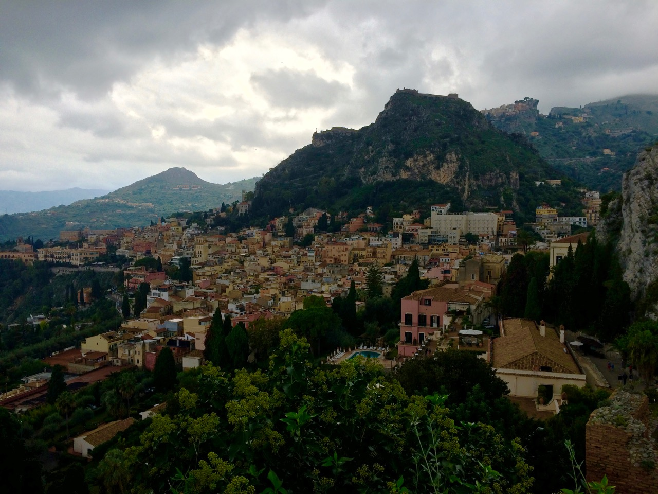 Rain over Etna morphed into menacing clouds in Taormina