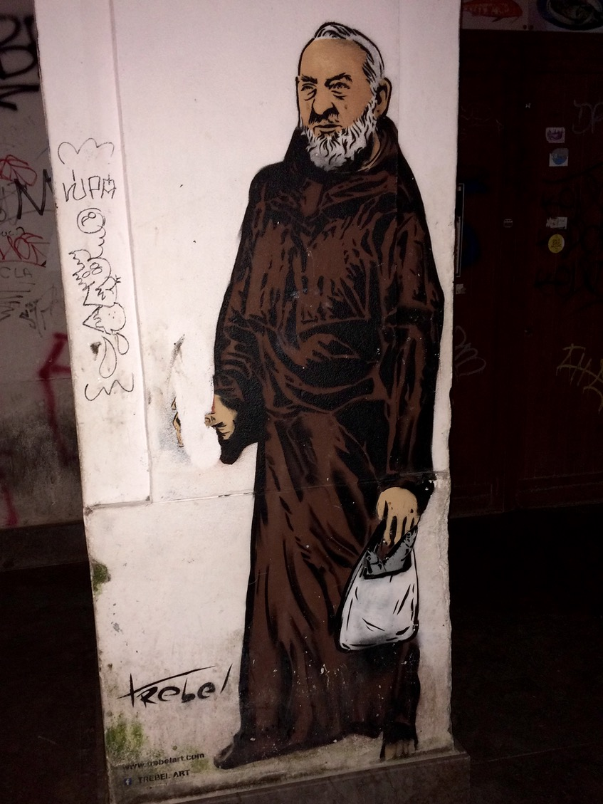 Padre Pio in Vucciria by Trebel