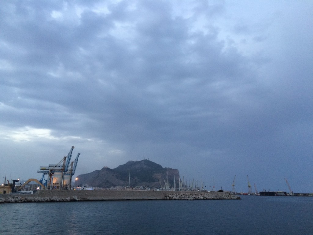 Port of Palermo with menacing clouds