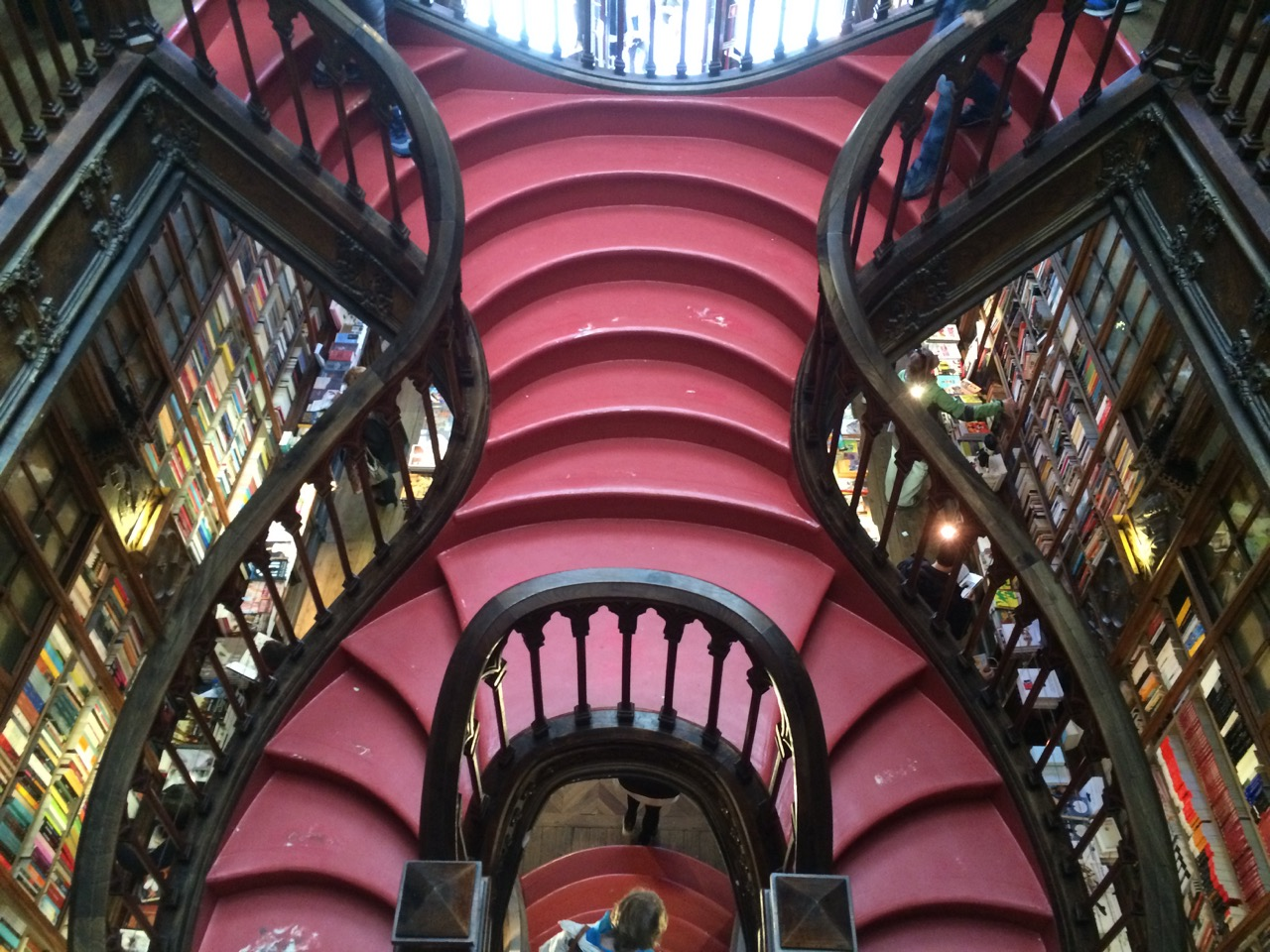The famous crimson staircase. Sadly, it bears marks left by thousands of curious visitors.