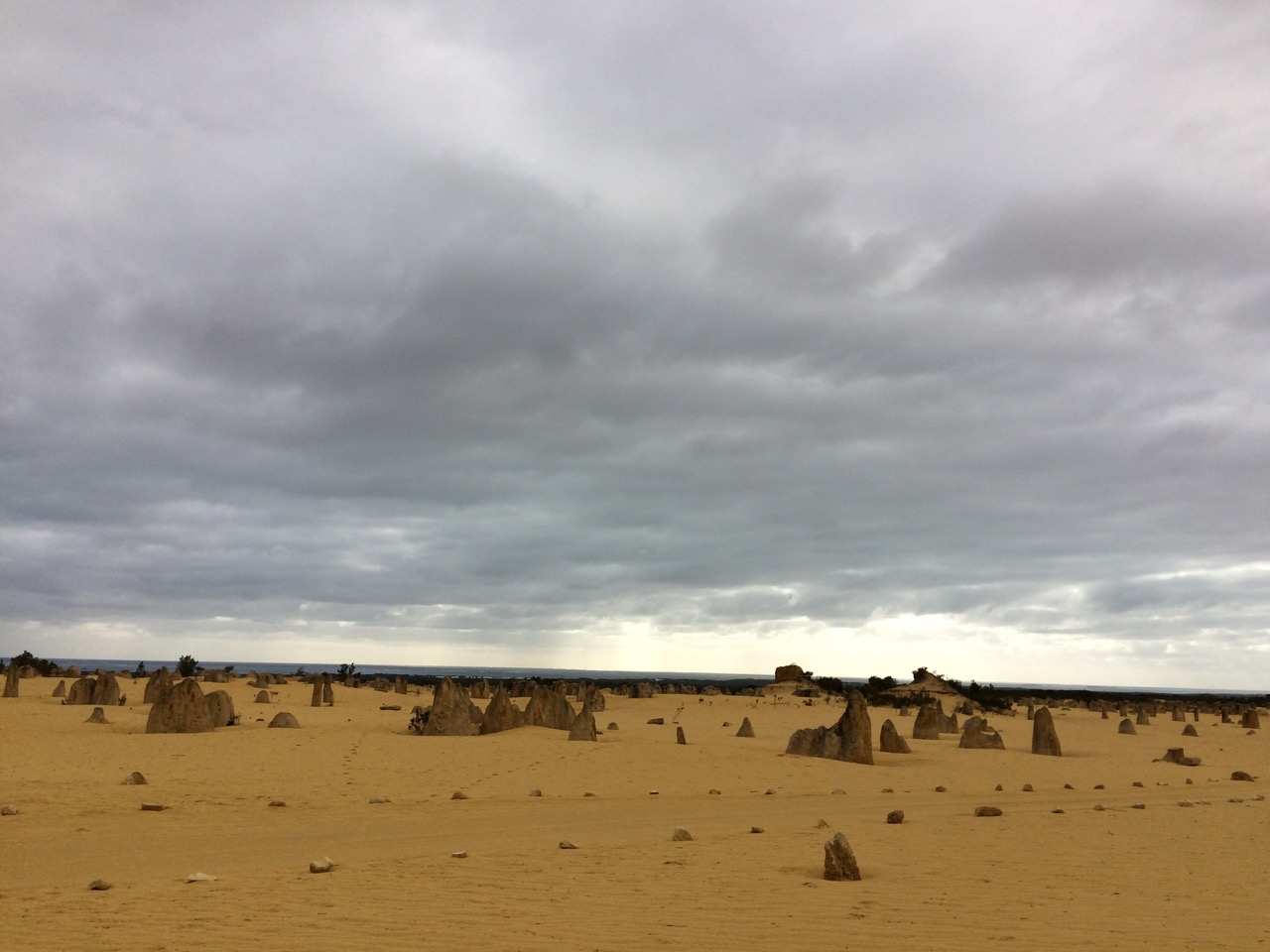 The Pinnacles desert on a stormy day