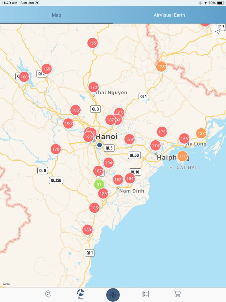 AQI around Hanoi