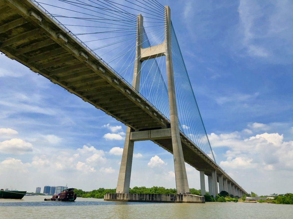 High-speed Ferry passes under the Phu My Bridge