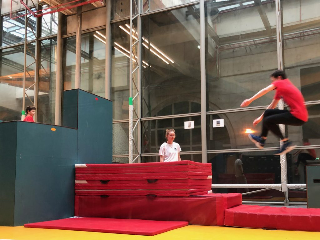 Paris kids busy with parkour training early in the morning